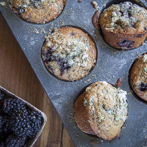 Blackberry Muffin Recipe made with Whole Wheat, Honey and Fresh Mint