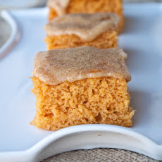Pumpkin Angel Food Cake Bars with Pumpkin Spice Glaze