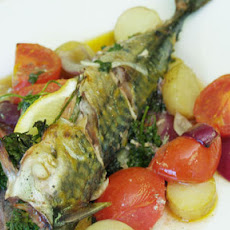 Baked Mackerel With Tomatoes And Potatoes