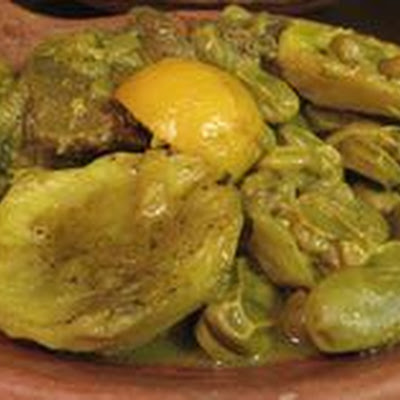 Moroccan Tagine of Fava Beans (Ful) and Artichokes