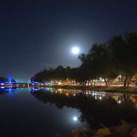 Moon River Night in Culiacan by Gary Hanson - City,  Street & Park  City Parks ( moon, bridge, culiacan, light, river, city )