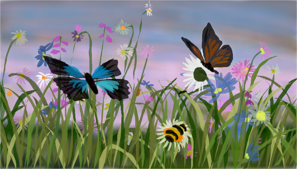 how to draw a garden with butterflies