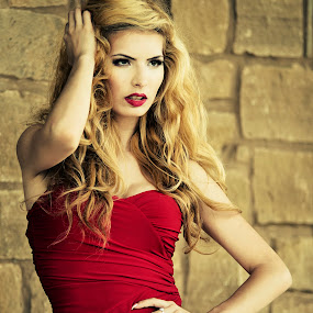 Red Hot by Michael Giardina - People Portraits of Women ( blonde, red, dress, hot, tight )
