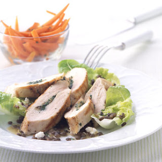 Herb-Stuffed Chicken with Caramelized Onion, Lentil, and Feta Salad