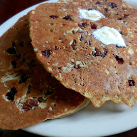 Whole Grain, Fruit and Seeds Pancakes by Kathy Rose Willis - Food & Drink Plated Food ( whole grain, breakfast, white plate, pancakes, brown, carbs,  )