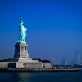 Welcome! by Ron Plasencia - Buildings & Architecture Statues & Monuments ( tourist attraction, statue of liberty, harbor, iconic, lady liberty, new york, french, ellis island, new jersey )