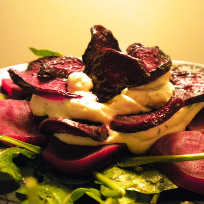 BEET IT! Beet, Herbed Cheese, & Arugula Salad