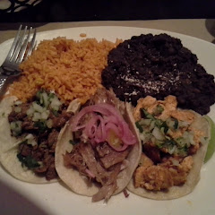 pork, chicken, and beef tacos
