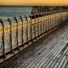 olden railings by Andrew Richards - Buildings & Architecture Architectural Detail ( railings, wales, penarth, pier, sunrise )