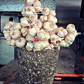 Stone Vase with Garlic by Tamsin Carlisle - Food & Drink Fruits & Vegetables ( raw, vase, seasoning, uncooked, garlic, stone, ingredient, bulbs, hotel, restaurant, vegetable )