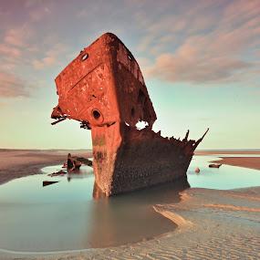 Baltray Wreckship by Jozef Svintek - Transportation Boats ( clouds, wreckship, ireland, water sunset, , water, device, transportation )