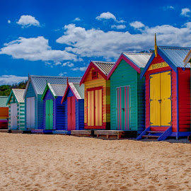 Summer Days by Jan Murphy - Buildings & Architecture Other Exteriors ( doors, colorful, seagulls, vibrant, yellow, beach, seaside, pale green, stairs, sky, beach huts, pink, clouds, sand, purple, green, lock, white, corrugated roof, roof, hinges, red, turquoise, blue, summer, burgundy,  )