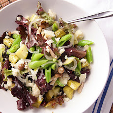 Green Salad with Pickled Mushrooms, Cucumbers, Onions, and Pecorino