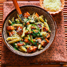 Easy Penne Pasta with Balsamic Sweet Potatoes, Baby Arugula (or Spinach), and Parmesan
