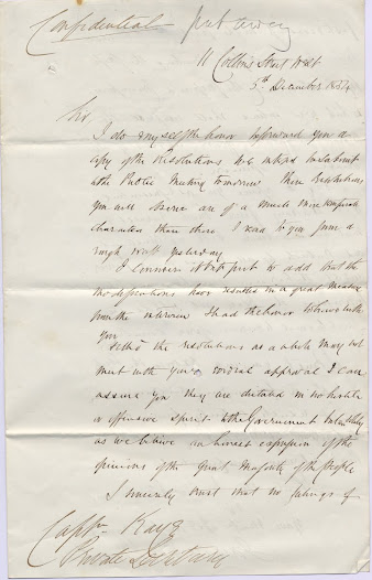 "James Stewart's letter to Lieutenant Governor Charles Hotham, dated 5 December 1854, discusses the resolutions that were to be raised at the public meeting of the following day (6 December), describing them as 'of a much more temperate character' than those originally put forward. These resulted from a meeting between the two men. The letter also discusses the appointment of a commission that would mediate between the diggers and the government to restore order to the goldfields.  <a href=""http://wiki.prov.vic.gov.au/index.php/Eureka_Stockade:J.M._Grant_about_the_proposed_resolutions_of_the_public_meeting_held_in_Melbourne"">Click here to see more of this record on our wiki</a>"