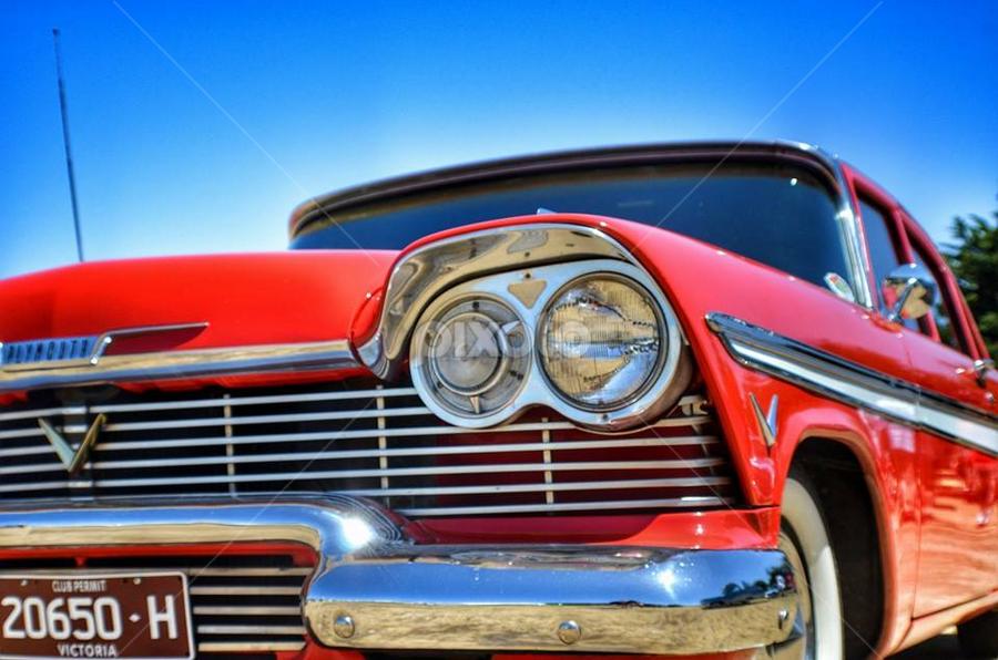 Big Red by Kristy Lamaro - Transportation Automobiles ( #beast, #chrome, #rockabilly, #oldskool, #love, #vintage, #rocket, #red )