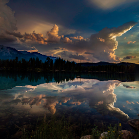 Evening clouds  by Doug Clement - Landscapes Travel ( clouds, water, nature, summer, lake, jasper, landscape, evening )