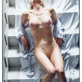 Stairway to heaven by Jason Elphick - Nudes & Boudoir Artistic Nude ( sexy, blonde, stairs, nude, white )