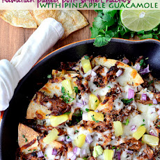 Hawaiian Pulled Pork Skillet Nachos with Pineapple Guacamole