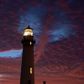 Pigeon Point Light with blazing sky. by Gale Perry - Landscapes Waterscapes (  )