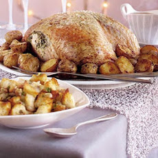 Herb-buttered Turkey, Roasties & Cranberry Sauce Gravy