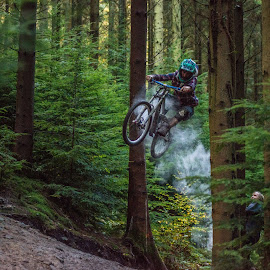 by Edward Welch - Sports & Fitness Cycling ( downhill, biking, dean park, action, paint )