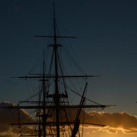 Portsmouth by Sarka Brichová - Novices Only Objects & Still Life ( history, port, sunset, ship, romantic )