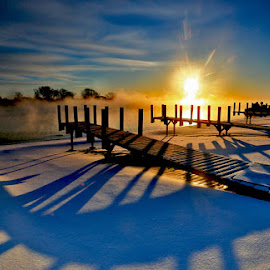 Sunrise Dock by Mike Grosso - Landscapes Sunsets & Sunrises ( michigan, winter, sunrises, scenics, lemp sunrise  2-13-15, landscape photography, snow scenes, shadows, Earth, Light, Landscapes, Views )