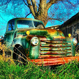 Waiting for a Buyer by Julie Dant - Transportation Automobiles ( antique vehicles, truck, antique trucks, green, nostalgia, green truck )