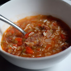 Dinner Tonight: Tomato, Rice, and Andouille Soup