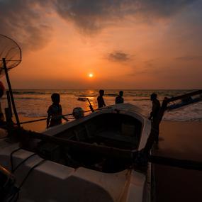 Waiting for the Tide by Mahdi Hussainmiya - Transportation Boats ( clouds, fishermen, sunset, boats, silhouettes,  )
