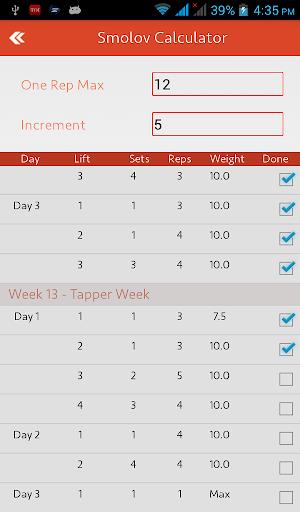Smolov Squat Calculator - screenshot