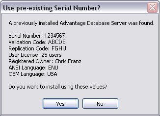 Use pre-existing Serial Number