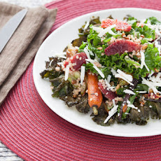 Roasted Kale & Heirloom Carrot Salad with Pepitas, Ricotta Salata & Champagne-Cardamom Vinaigrette