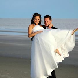 Carried Away by Darlene Lankford Honeycutt - Wedding Bride & Groom ( wedding, dl honeycutt, carried, beach, bride and groom )