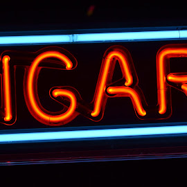 Cigar Sign by Brandie Stordahl - Artistic Objects Signs ( lights, orange, signs, blue, electric, neon, nightime, orange. color )