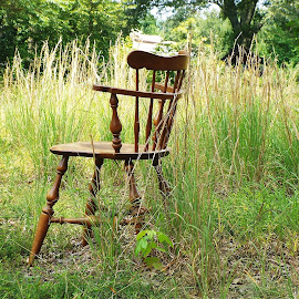by Keith Bass - Artistic Objects Furniture ( field, chair, antique chair, arkansas photographer, wooden chair, ethan allen chair, chair in a field, meadow, ethan allen, antique, arkansas )