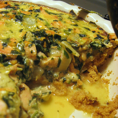 Salmon, Dill, and Greens Quiche with Cornmeal Crust