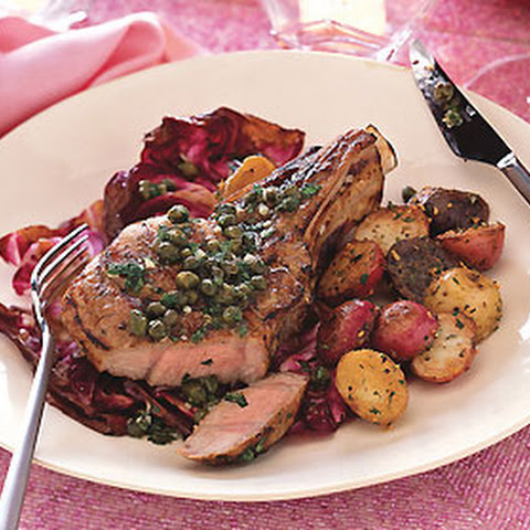 Grilled Veal Chops and Radicchio with Lemon-Caper Sauce