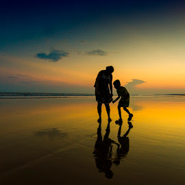 On the beach by Jayanta Basu - People Street & Candids ( sunset, silhouette, digha, india, seascape, beach,  )