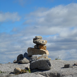 Rock Stacking by Donna Donofrio-Paterson - Nature Up Close Rock & Stone ( clouds, sky, rock stacking, clouds and sea, rocks )