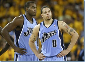 Deron Williams and reserve Paul Millsap in the 2006-2007 NBA Playoffs