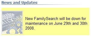 Message on the New FamilySearch website.