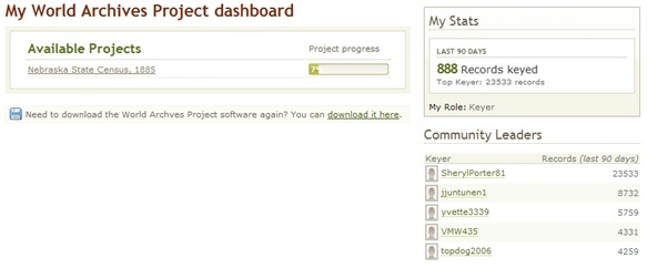 The new World Archives Project dashboard