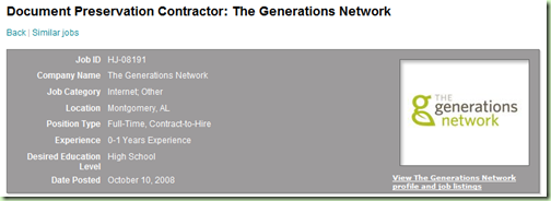 Ancestry.com parent, The Generations Network, advertising for project in Montgomery, Alabama