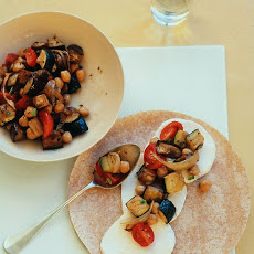Roasted Eggplant, Zucchini, and Chickpea Wraps