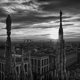 From the roof of the Duomo by Bianca Mauro - City,  Street & Park  Vistas ( milan, building, europe, black and white, duomo, architecture, cityscape, roof, contrast, sunset, cathedral, view, italy,  )