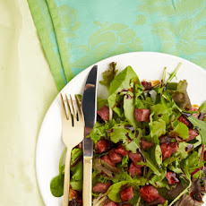 Spring Lettuce with Pastrami Croutons & Balsamic Reduction