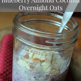 Blueberry, Almond, and Coconut Overnight Oats Oatmeal in a Jar
