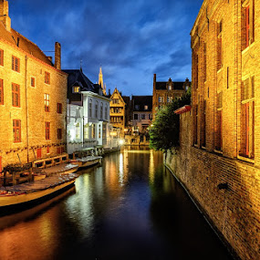 Venice of the North by CK Lam - City,  Street & Park  Historic Districts ( venice of the north, europe, blue hour, historic town, bruges, belgium, long exposure, brugge, canal )